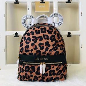 MK Leopard Kenly Medium Backpack
